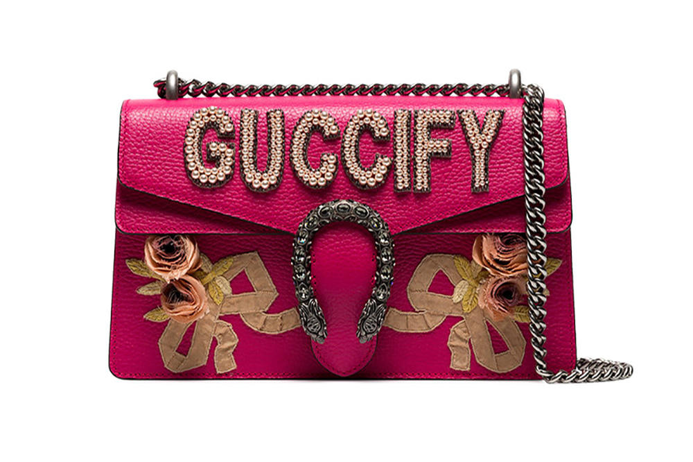 Gucci dionysus bag embellished guccify hot bright pink pearls floral where to buy browns