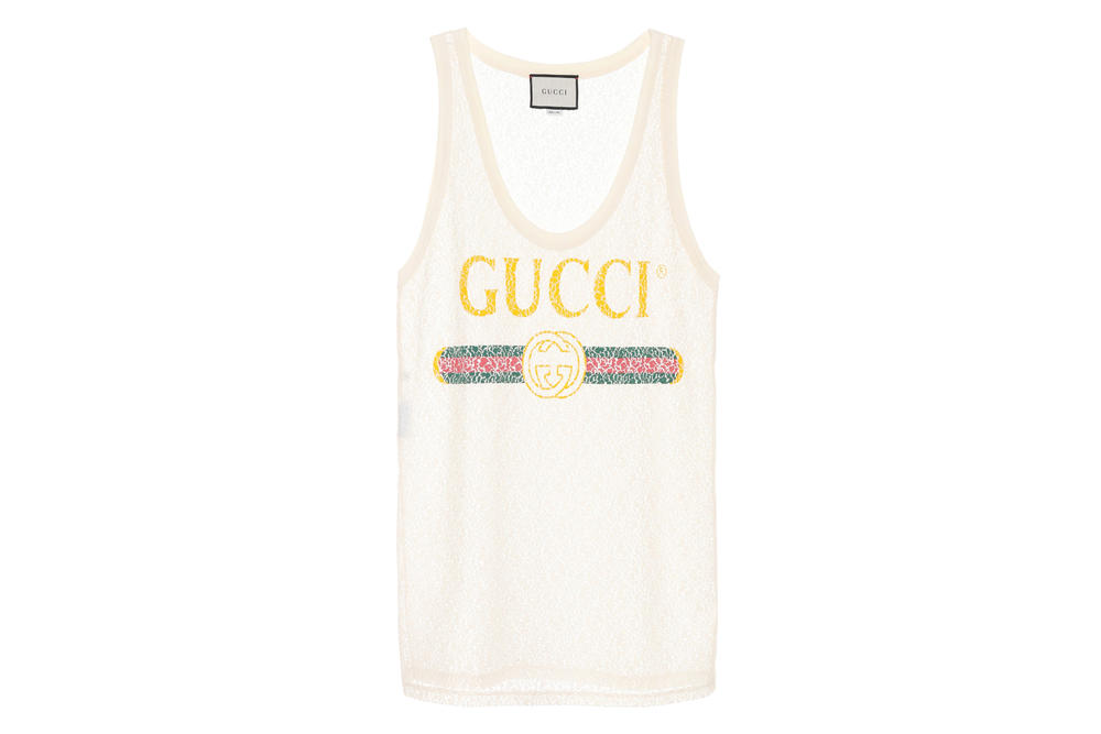 Gucci Vintage Logo Lace Tank Top Iconic Summer Piece Luxury