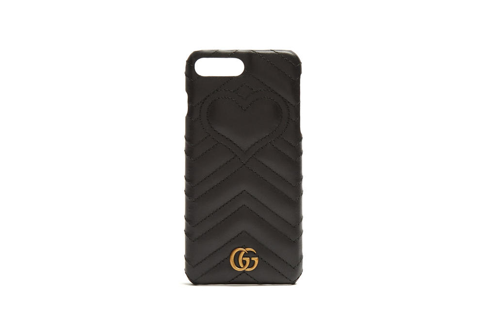 Gucci Marmont Quilted iPhone Case Black Leather Gold Luxury Accessory