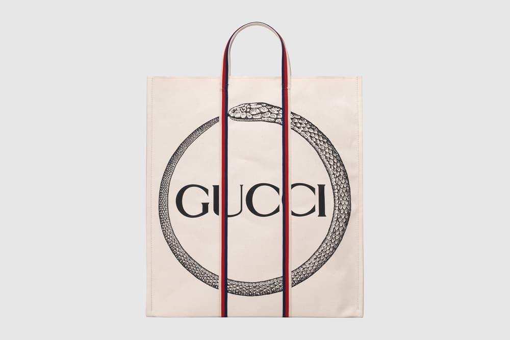 Gucci Ouroboros Print Logo Canvas Tote Bags Snake Supreme Square G Vintage