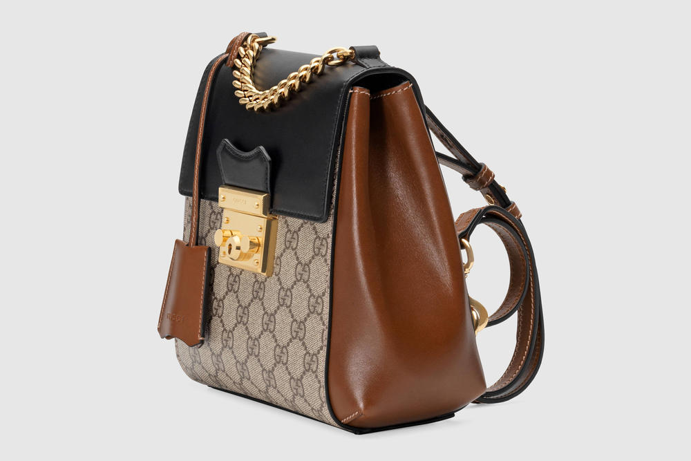 Gucci Padlock GG Supreme Mini Backpack Logo Brown Black Leather