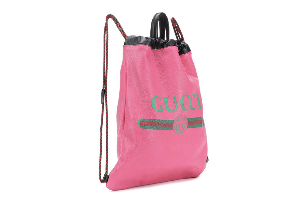 Gucci luxury leather printed drawstring backpack bag designer sports luxe 80s vintage retro logo mytheresa.com