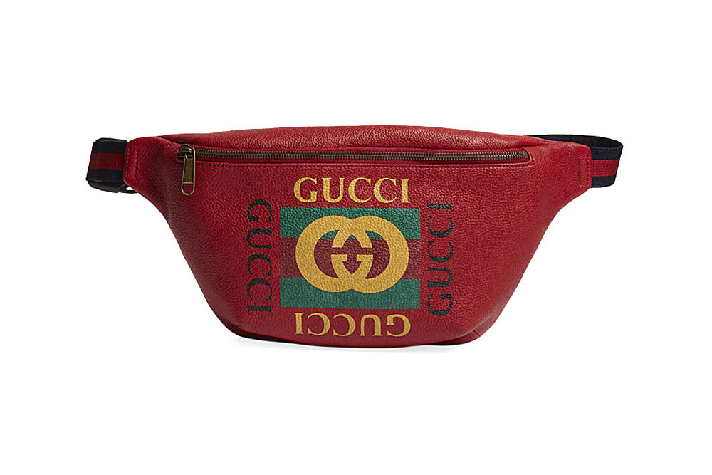 gucci vintage logo fanny pack side bum bag cherry red grained leather branded where to buy