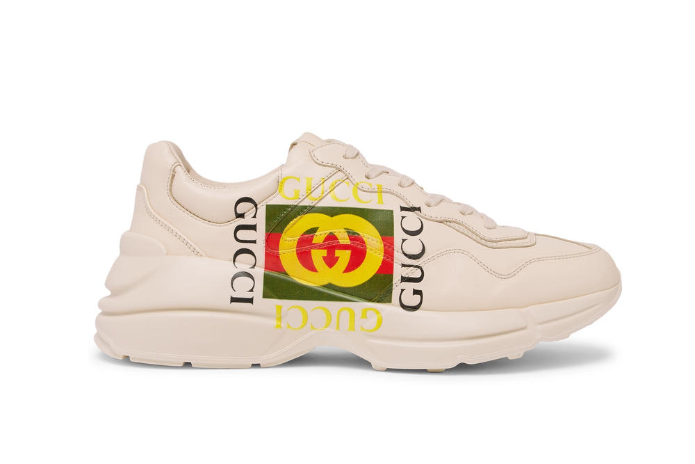 Gucci Logo Rhydon Sneaker Chunky Dad Shoe White Cream Retro Colorful Statement Iconic Piece Order Available Now Luxury Limited