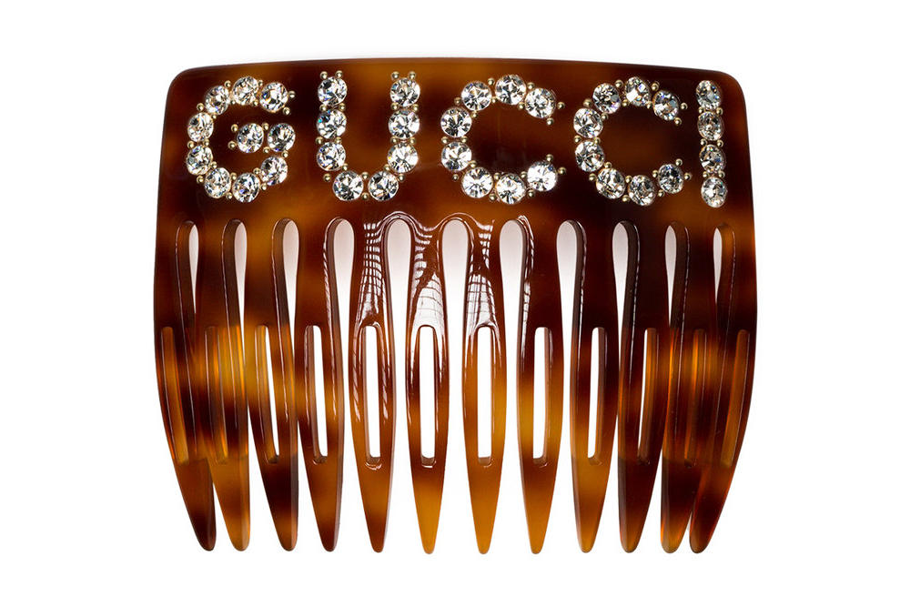 gucci tortoiseshell hair comb crystal embellished accessories browns brownsfashion.com