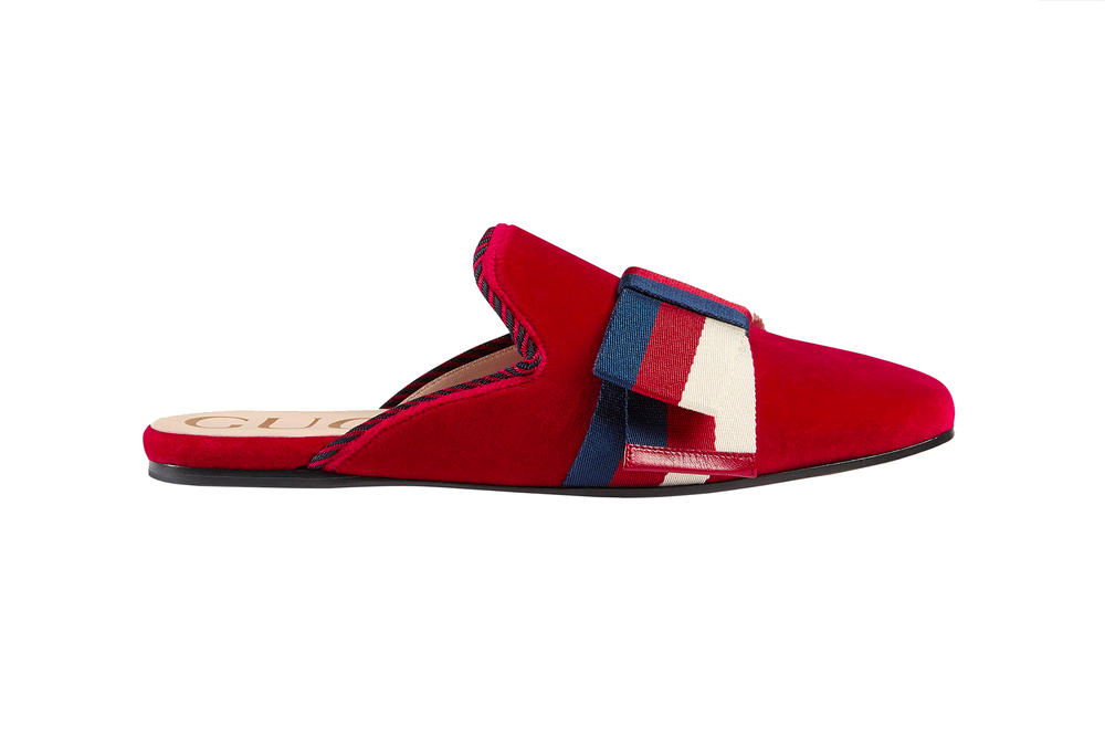 Gucci Velvet Slippers Sylvie Bow Hibiscus Red Blue Slides Mules Cruise 2018 Alessandro Michele