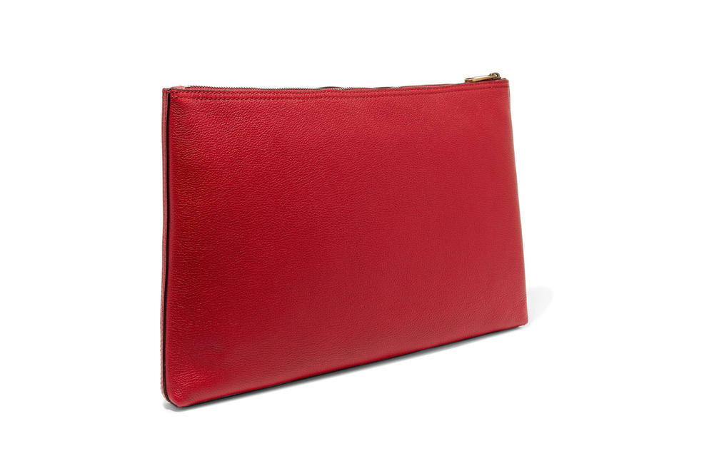 gucci vintage logo red leather pouch hibiscus