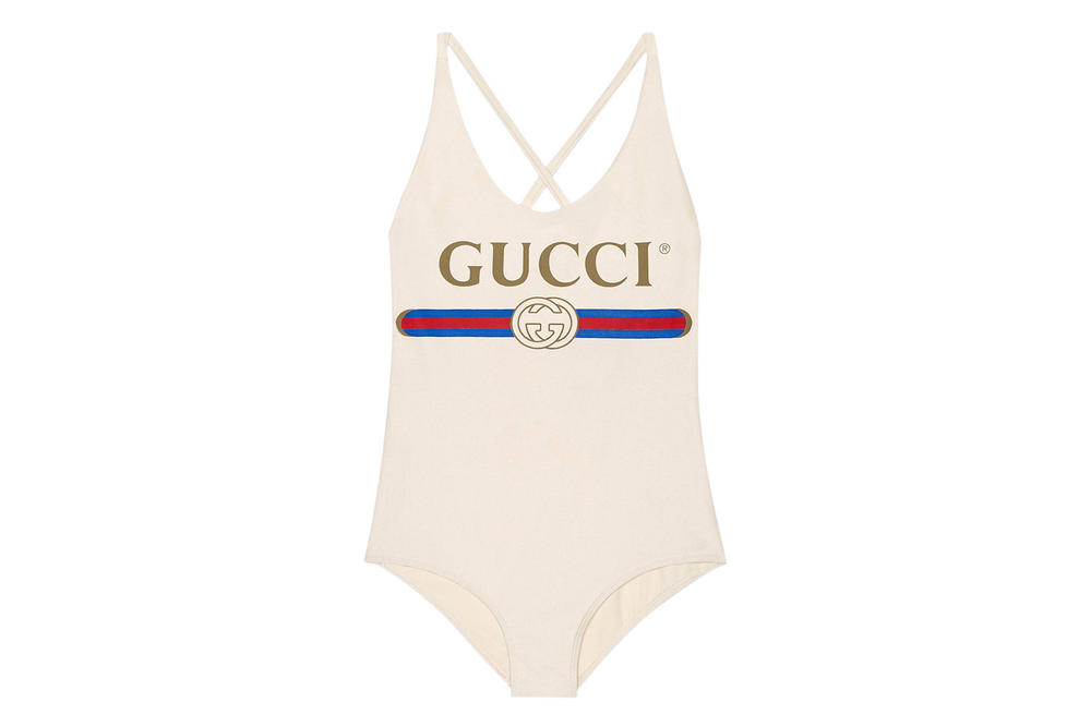 Gucci Vintage Logo Sparkling Swimsuit Retro Bathing Suit Swimwear White Red Blue Alessandro Michele