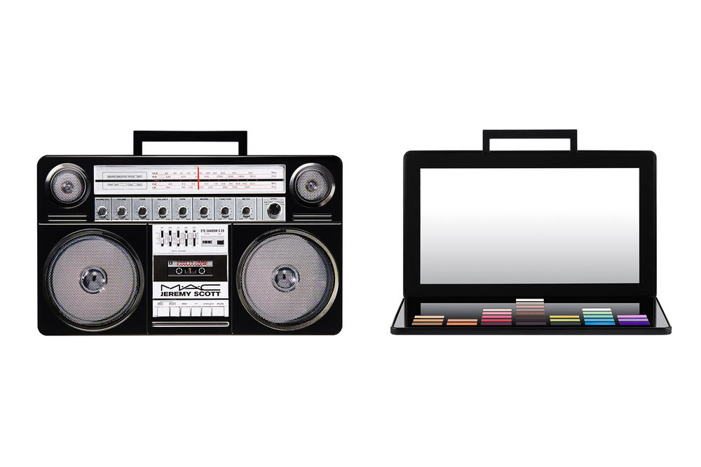 Jeremy Scott MAC Makeup Collection Collaboration 2018 Boombox Mixtape CD Eyeshadow Palette Lip Cheeky Blush Bronzer Cassette Tape Retro Vintage Music