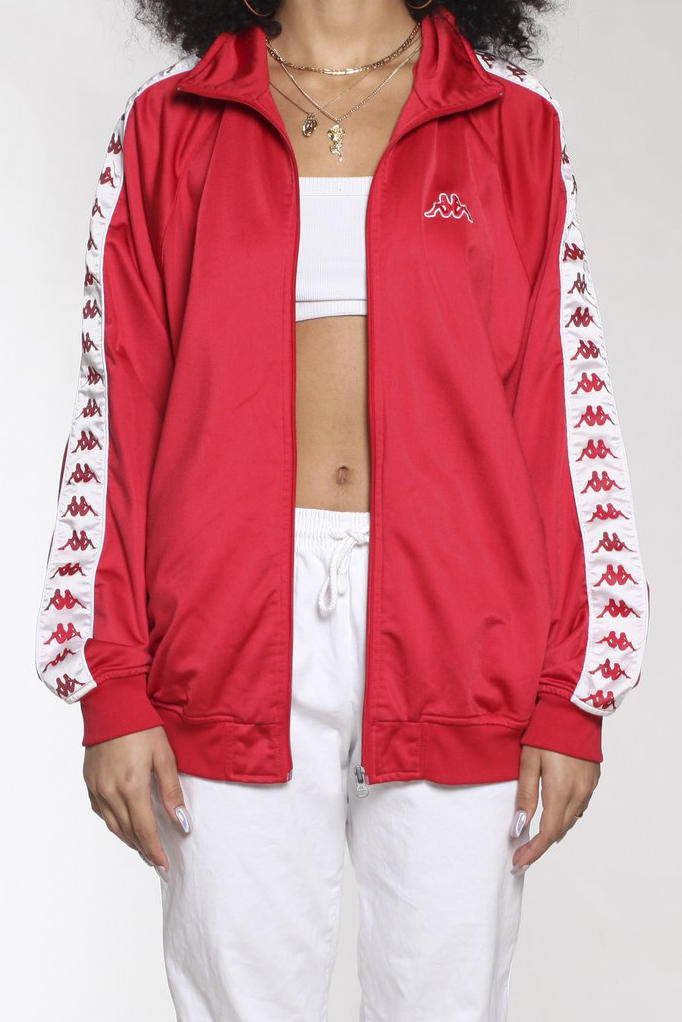 kappa vintage rework frankie collective windbreaker jacket white red