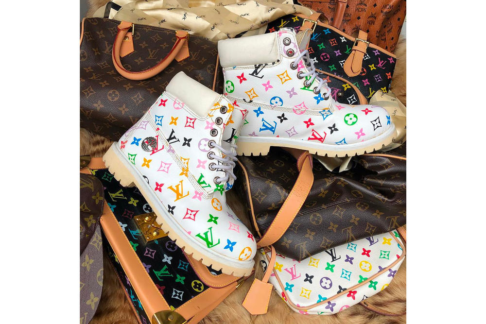 7a98b4ee73 Custom Vintage Louis Vuiton Timberland Boots Frankie Collective Raffle  Rework Rainbow Monogram White Leather