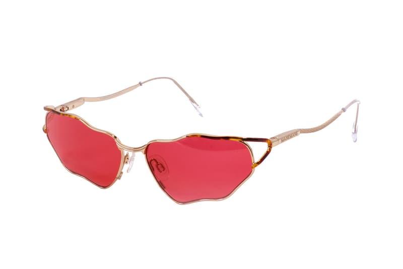 ManeMane Melted Frame Statement Sunglasses Metal Tinted Glass Red Purple Yellow Eyewear Shades