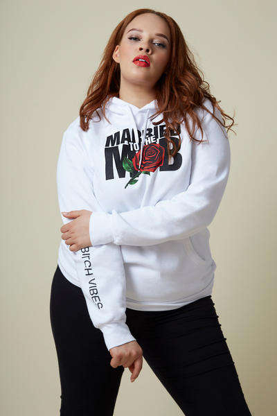 Married to the Mob Capsule Collection White Rose Knit Hoodie