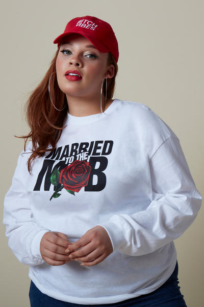 Married to the Mob Capsule Collection White Rose Knit Longsleeve Shirt Red Hat