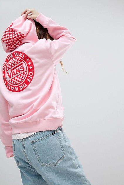 Vans womens girls apparel hoodie pastel millennial pink logo graphic red checkerboard asos where to buy