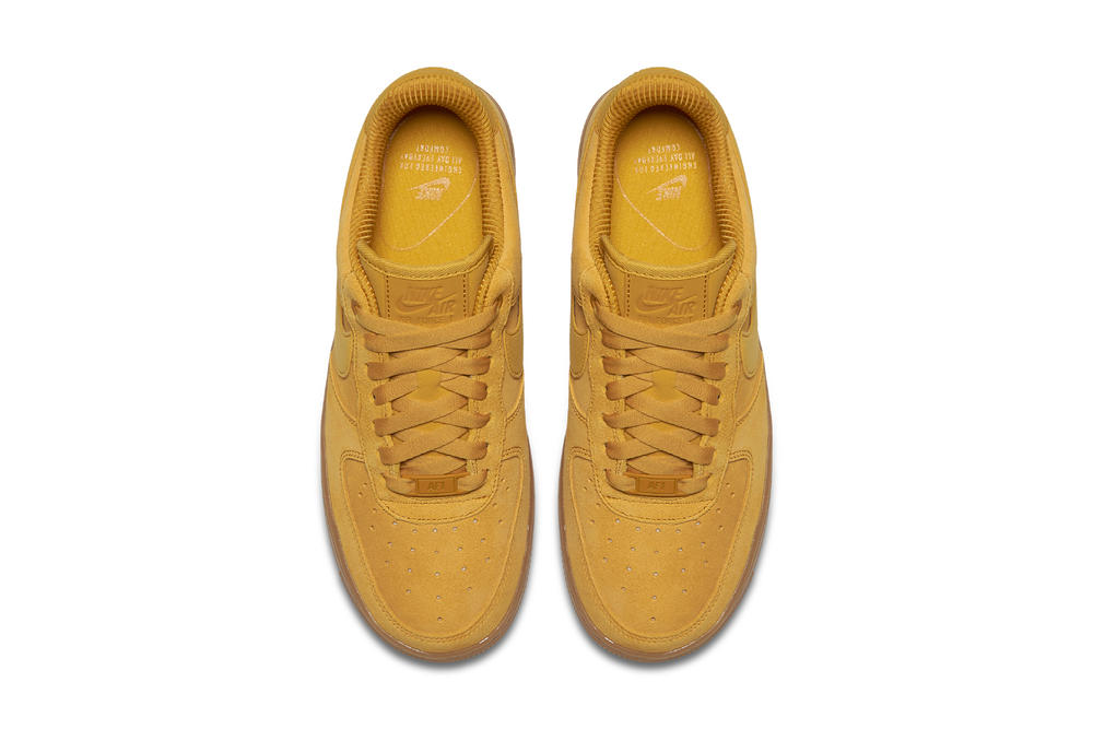 "Nike Air Force 1 Sneaker Silhouette ""Mineral Yellow"" Colorway Color Bright Shoe Suede Gum Sole"