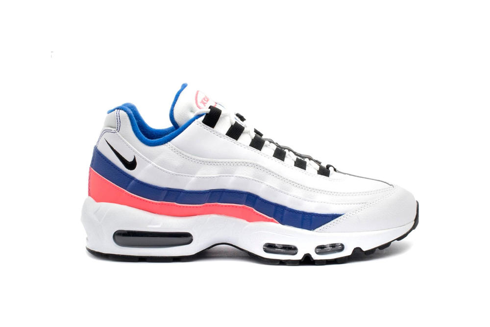 "Nike Air Max 95 ""Essential"" White Ultramarine Red Sneaker Shoe Retro Silhouette Spring Colorway"