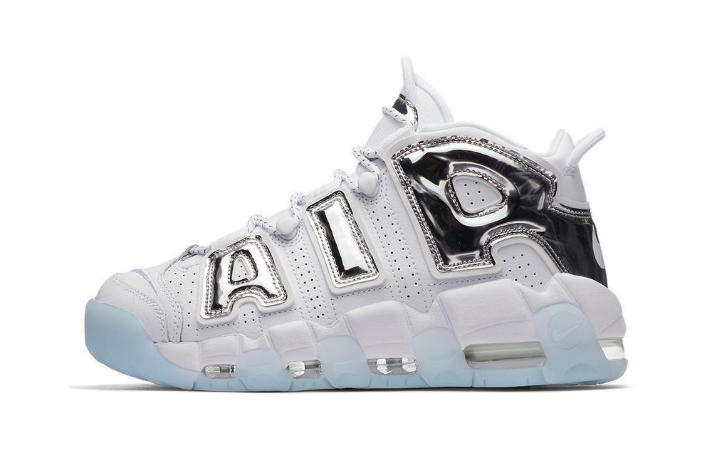 "Nike Air More Uptempo Sneaker ""Chrome"" White Silver Holographic Mirror Shoe Silhouette Chunky Retro"