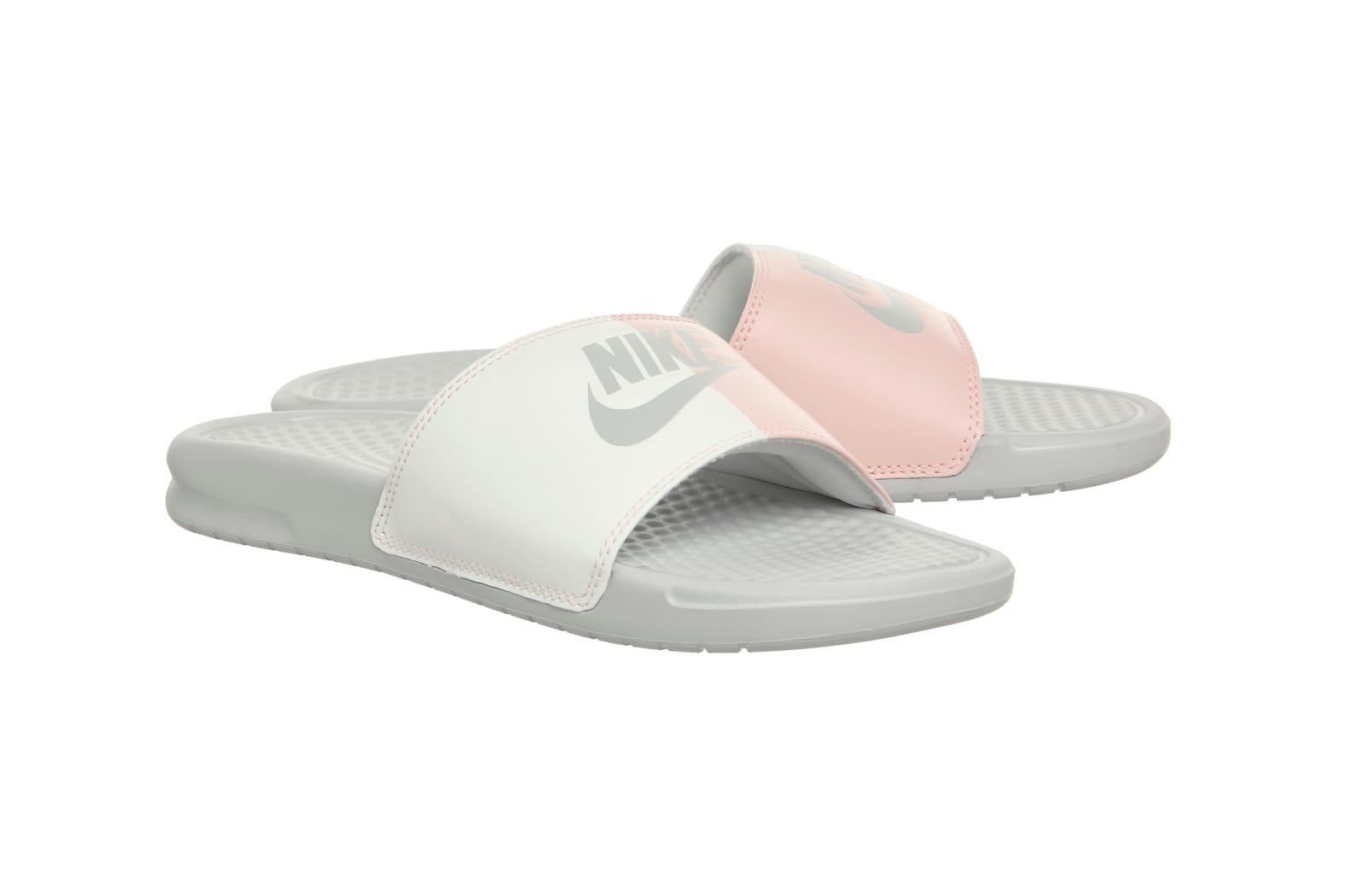 nike 2 strap slides white