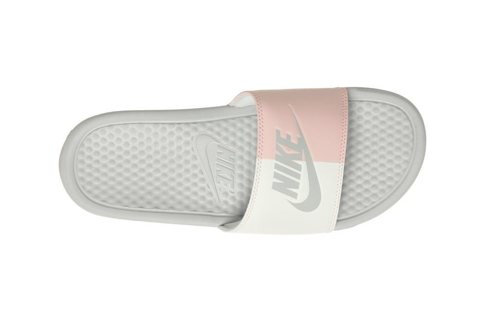 895df3d8a839a4 Nike benassi womens slides sandals slip on pink white dual two tone split  summer where to