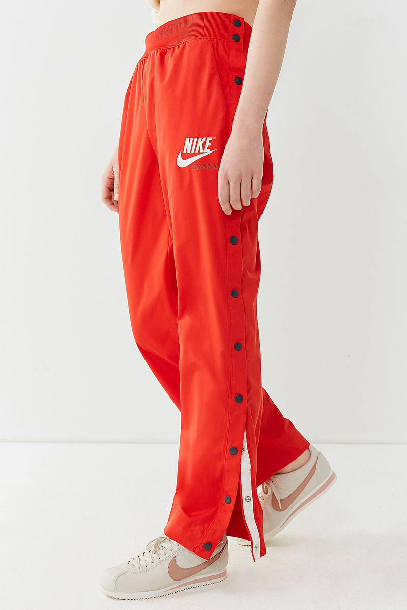 nike red track pants tear away popper vintage retro sporty womens urban outfitters