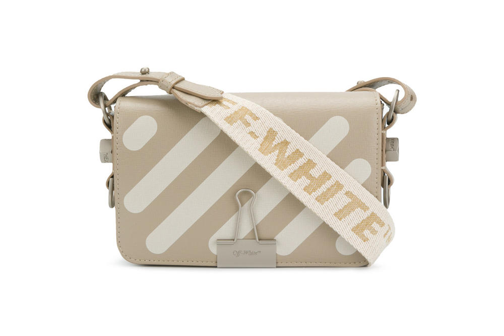 Off-White Virgil Abloh Striped Binder Clip Bag Beige Streetwear Purse