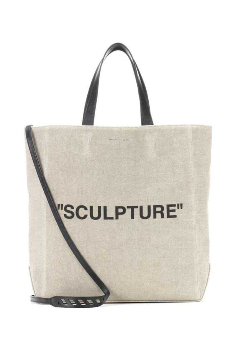 Off-White Canvas Structure Tote Beige Front View