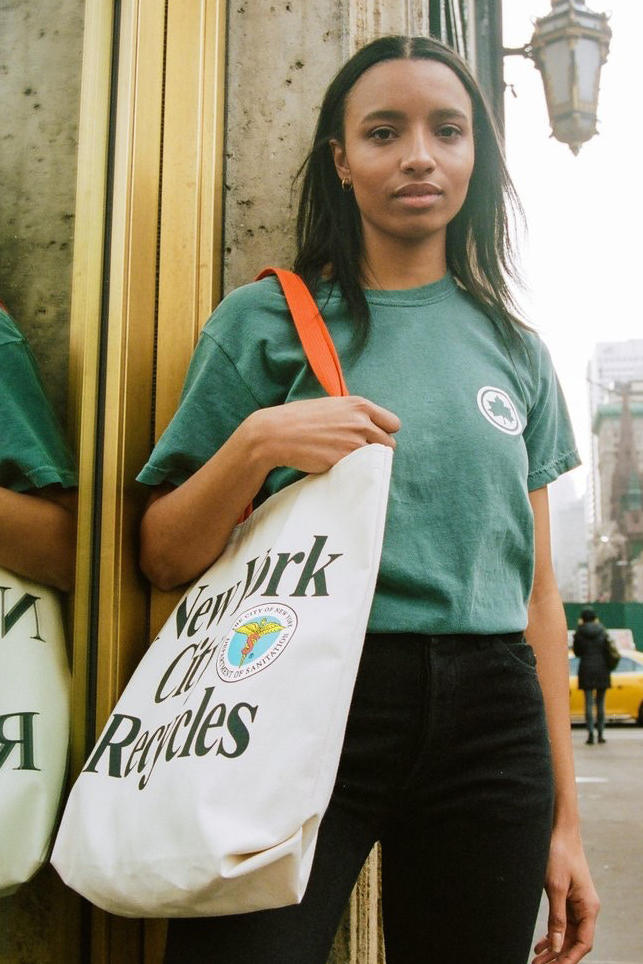 ONLY NY New York City Collection Landmarks Staples Streetwear T-Shirt Parks and Recreation Department of Sanitation Capsule Accessories Tote Bags