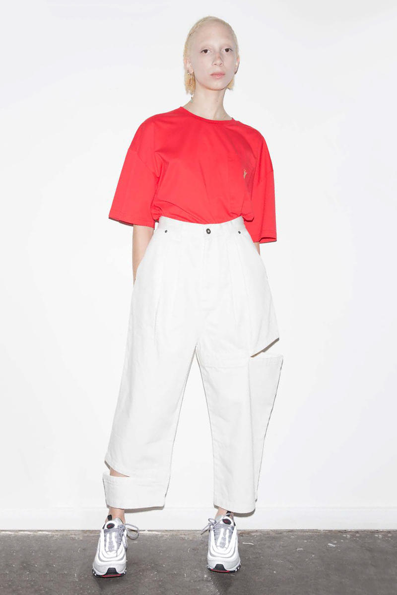 P.A.M. Women's Spring/Summer 2018 Lookbook Red T-Shirt White Pants