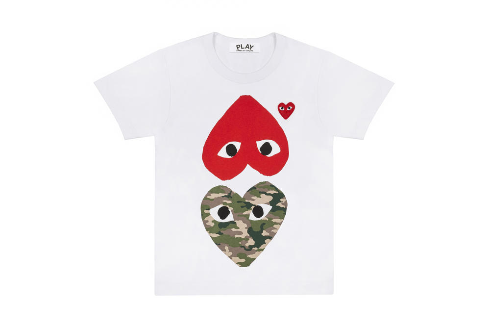 12727d342d78 COMME des GARÇONS PLAY Camouflage T-shirts Dover Street Market Where To Buy Heart  Logo