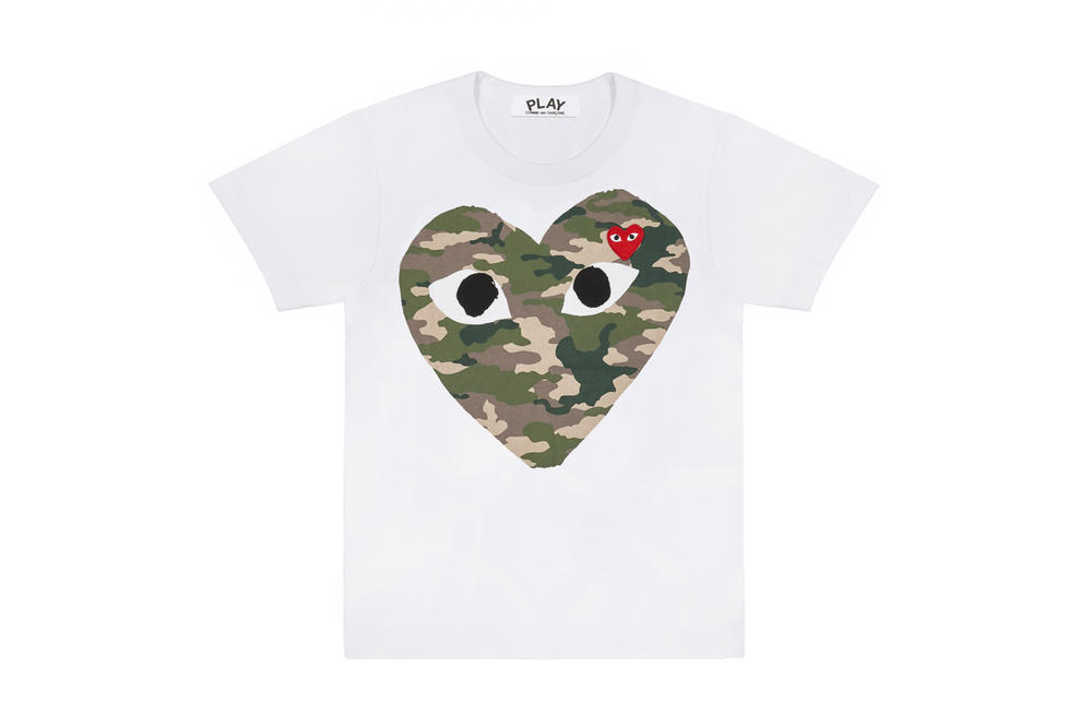 COMME des GARÇONS PLAY Camouflage T-shirts Dover Street Market Where To Buy Heart Logo