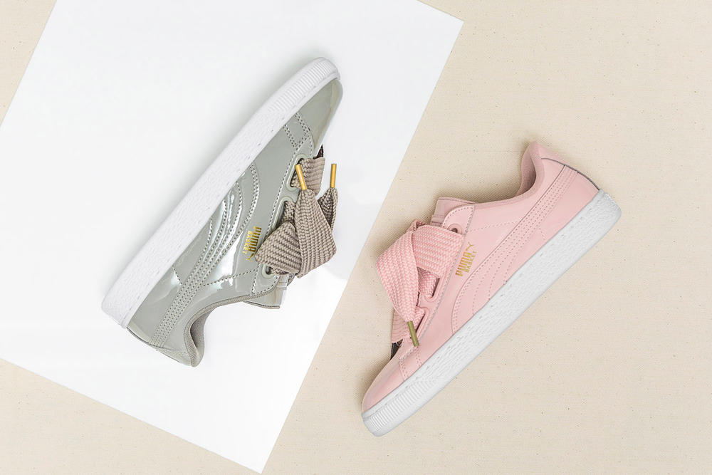PUMA Basket Heart Patent Pink Grey Colorway Sneaker Silhouette HBX