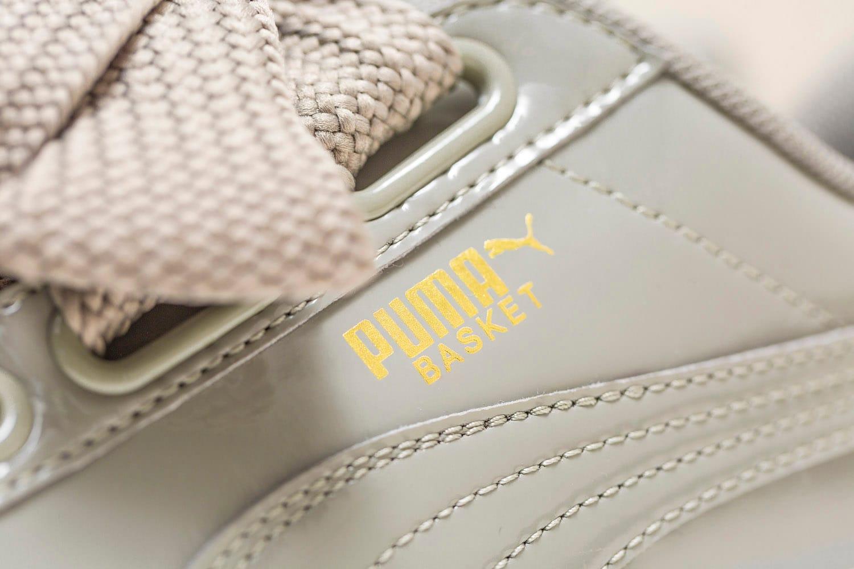 puma basket heart grey patent