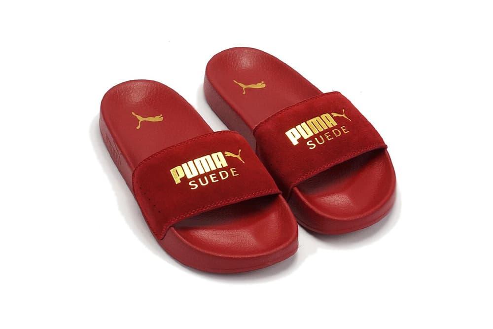 Puma Leadcat Suede Slide Dahlia Gold Top View