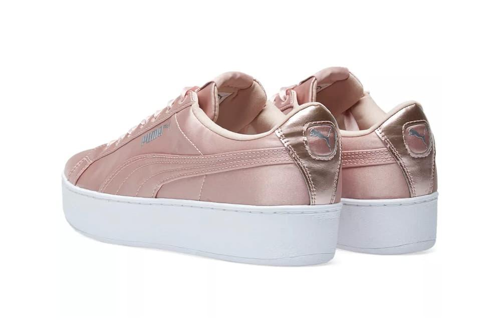 ded81609a42c1f puma womens platform satin glossy pastel pink chunky sneaker peach beige