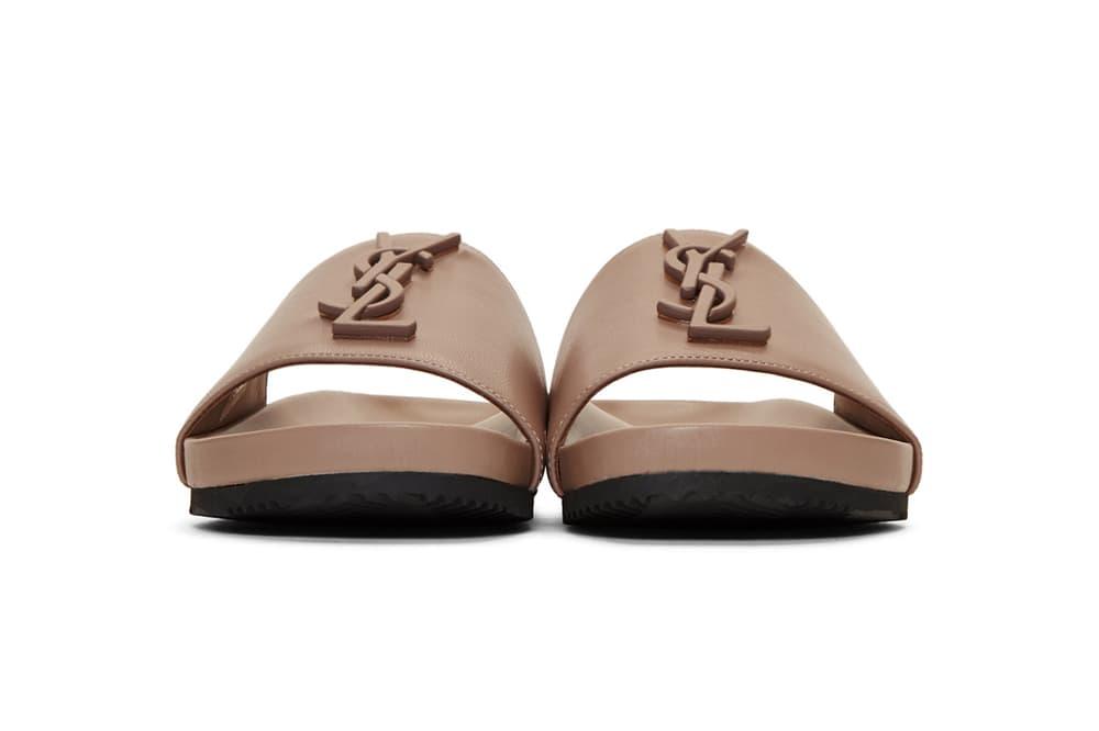 Saint Laurent Pink Joan Slides Sandals SSENSE Neutral Nude Minimalist Dusty