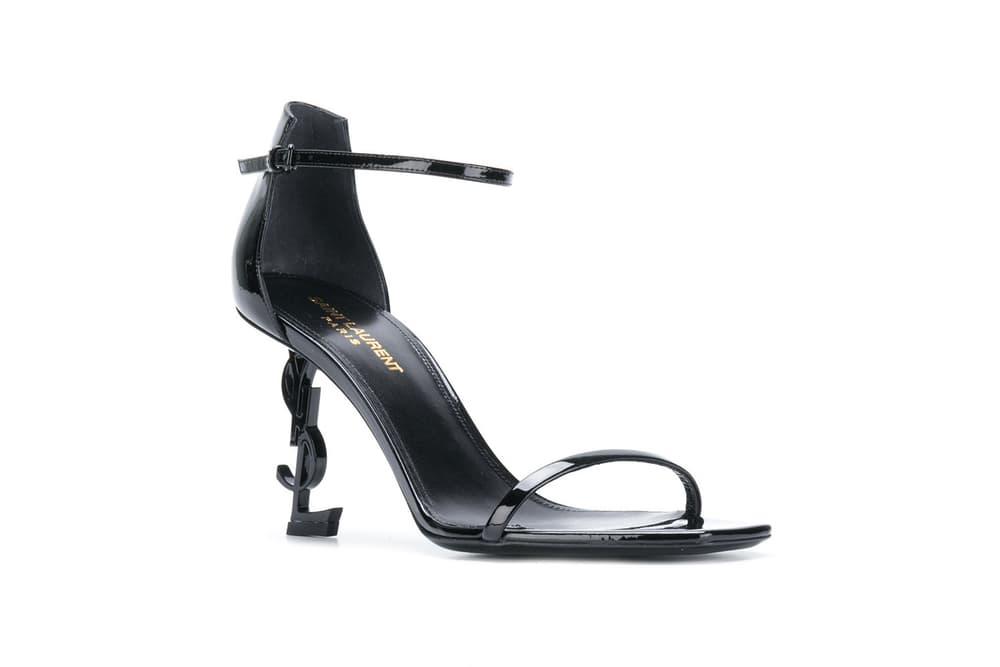 Saint Laurent Black Opyum Sandal Heels Ionic Logo Haute Couture Farfetch Stilettos