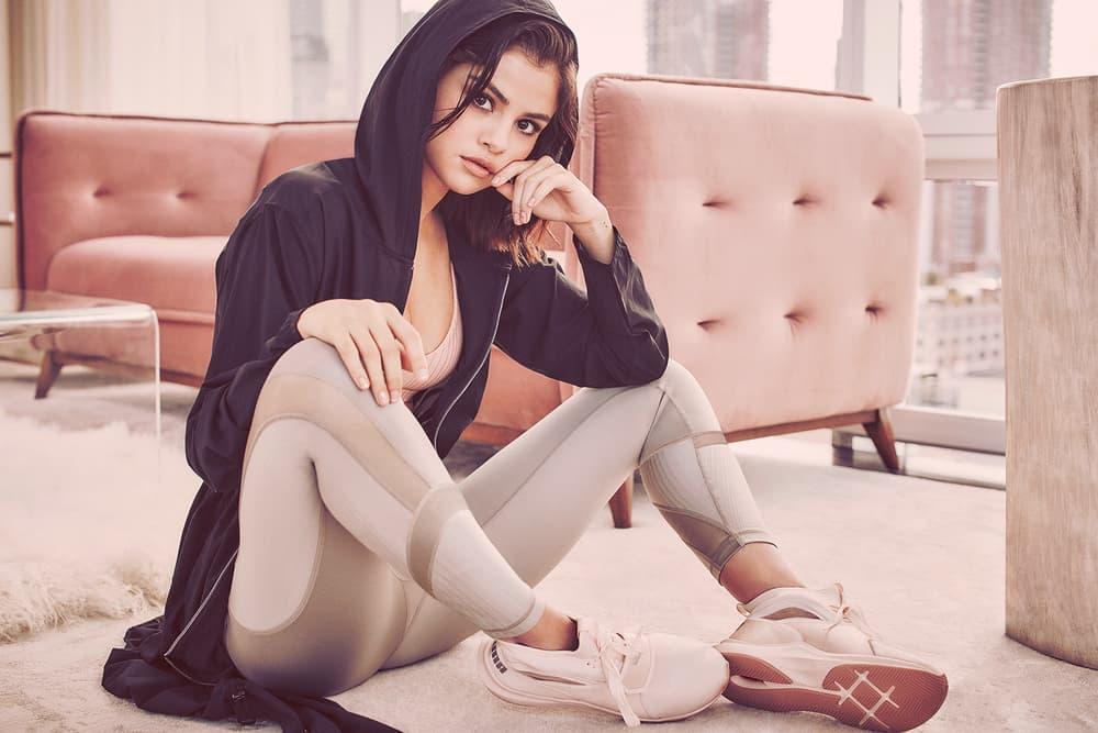 Selena Gomez PUMA Phenom Fierce Campaign Millennial Pastel Pink White Black Ballerina Lookbook Ambassador En Pointe collection Spring Summer 2018 Low
