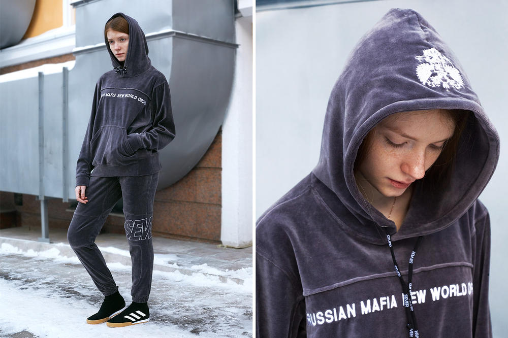 Sever x KM20 Russian Mafia New World Order Capsule Collection Grey Velour Tracksuit
