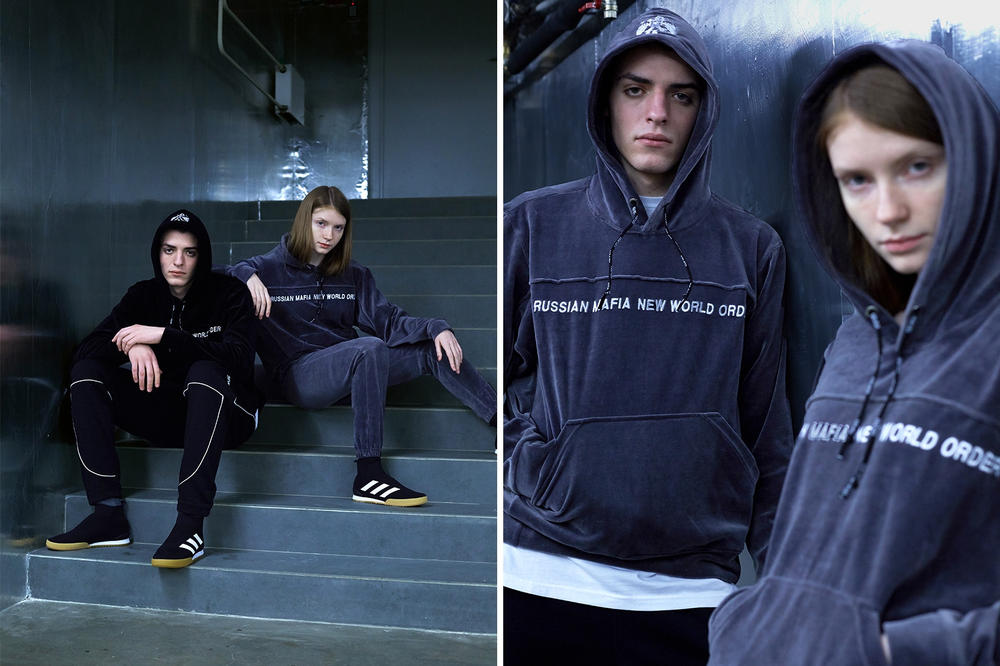 Sever x KM20 Russian Mafia New World Order Capsule Collection Grey Black Velour Tracksuit