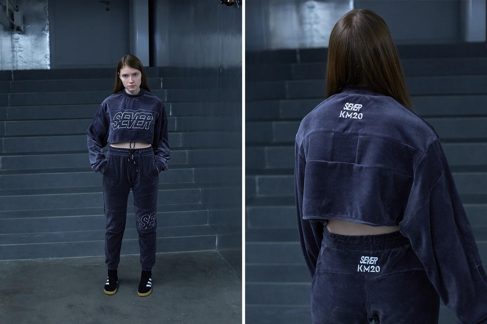 Sever x KM20 Russian Mafia New World Order Capsule Collection Grey Velour Crop Top Track Pants