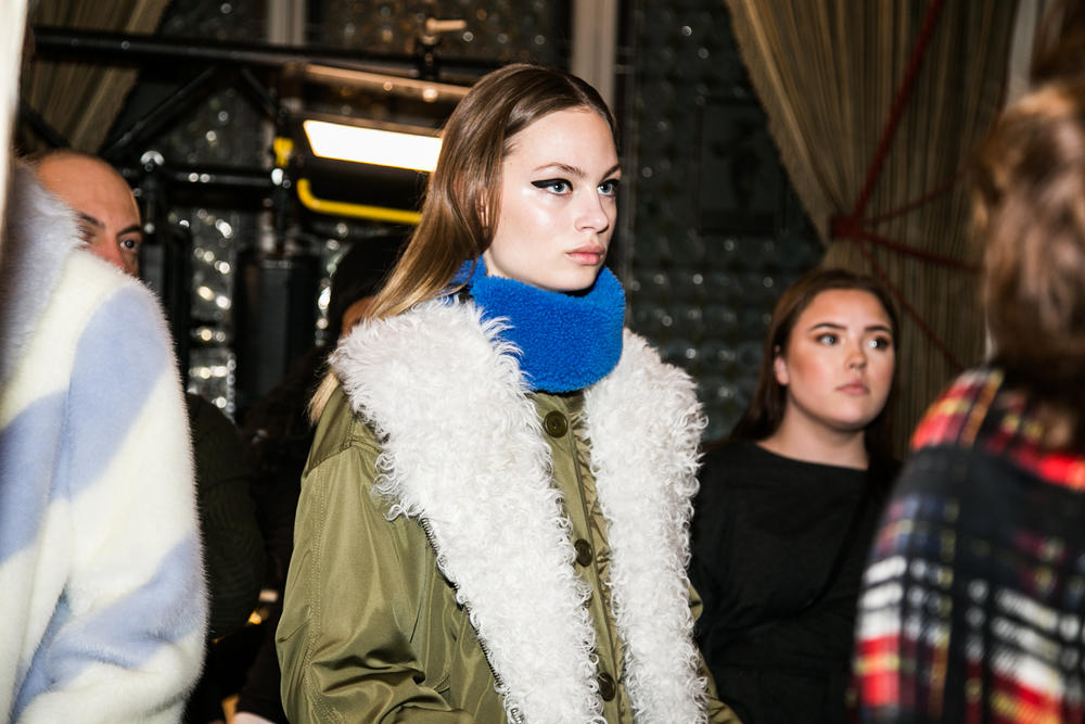 STAND stockholm fashion week 2018 fall winter menswear womenswear backstage behind the scenes scandi style leather faux fur shearling coat