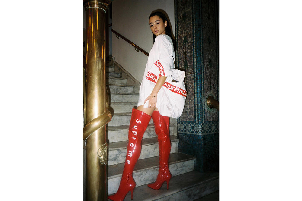 Supreme Reworked Custom Frankie Collective Boots Logo Red Thigh High Puffer Jacket
