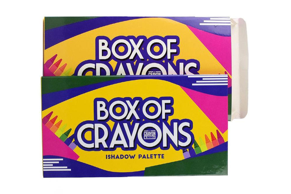 The crayon case box of crayons eyeshadow ishadow palette black owned beauty cosmetics company makeup crayola 90s