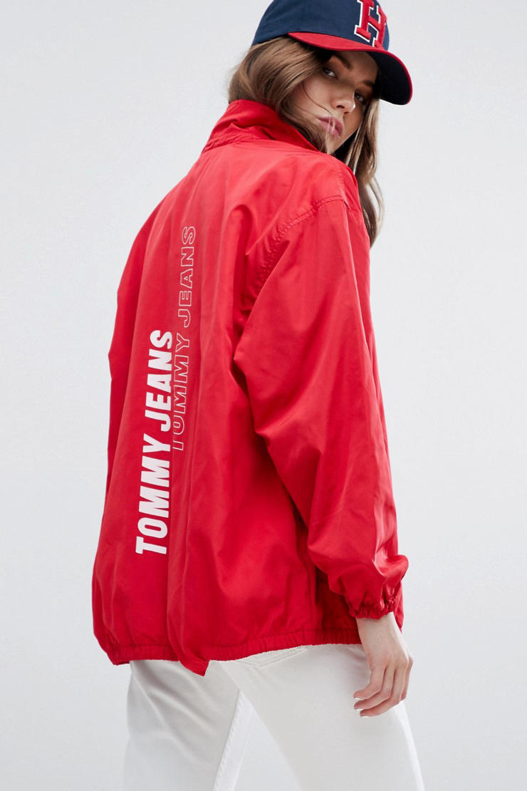 Tommy Jeans Hilfiger retro vintage nostalgic 90s red white logo branded coach jacket womens where to buy