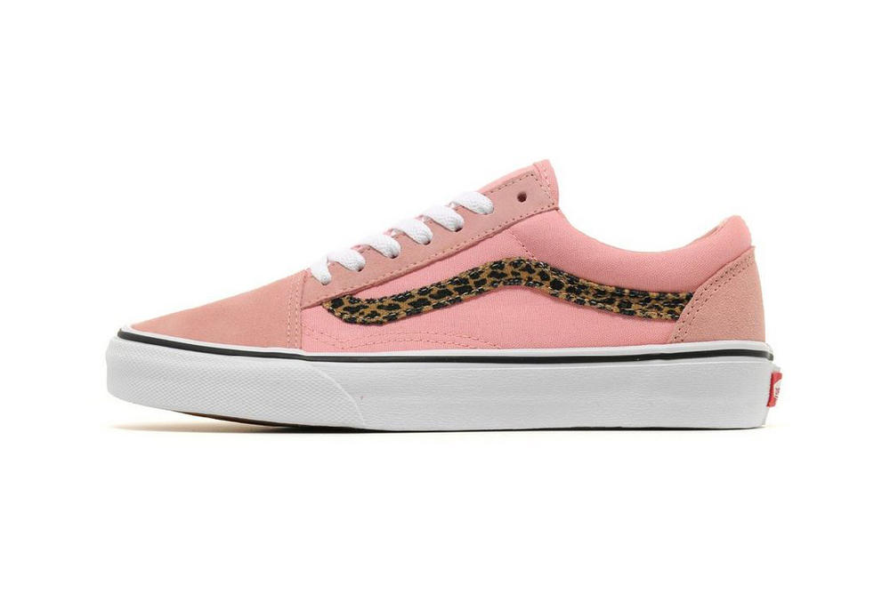 Vans old skool womens girls pastel blush blossom pink leopard print side stripe where to buy