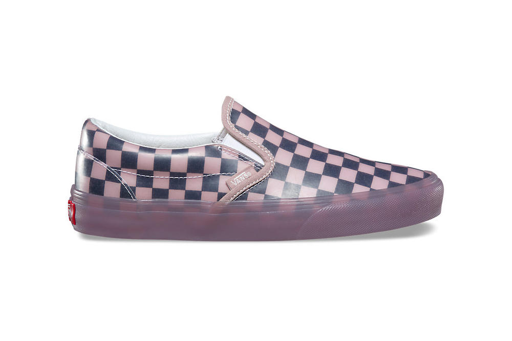 Vans Slip-On Translucent Rubber Hibiscus Porcini Reflecting Pond Checkerboard