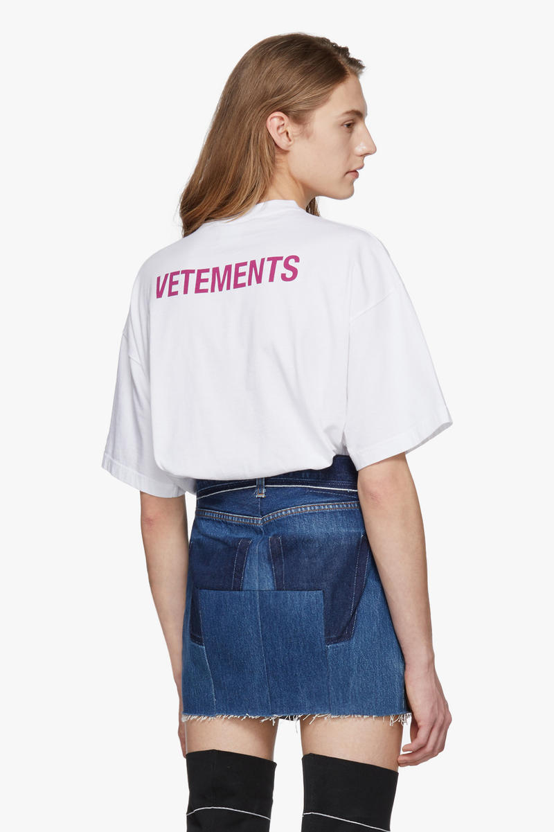 Vetements Entry Level T-Shirt Affordable White Pink Print Staff Merchandise Merch Demna Gvasalia