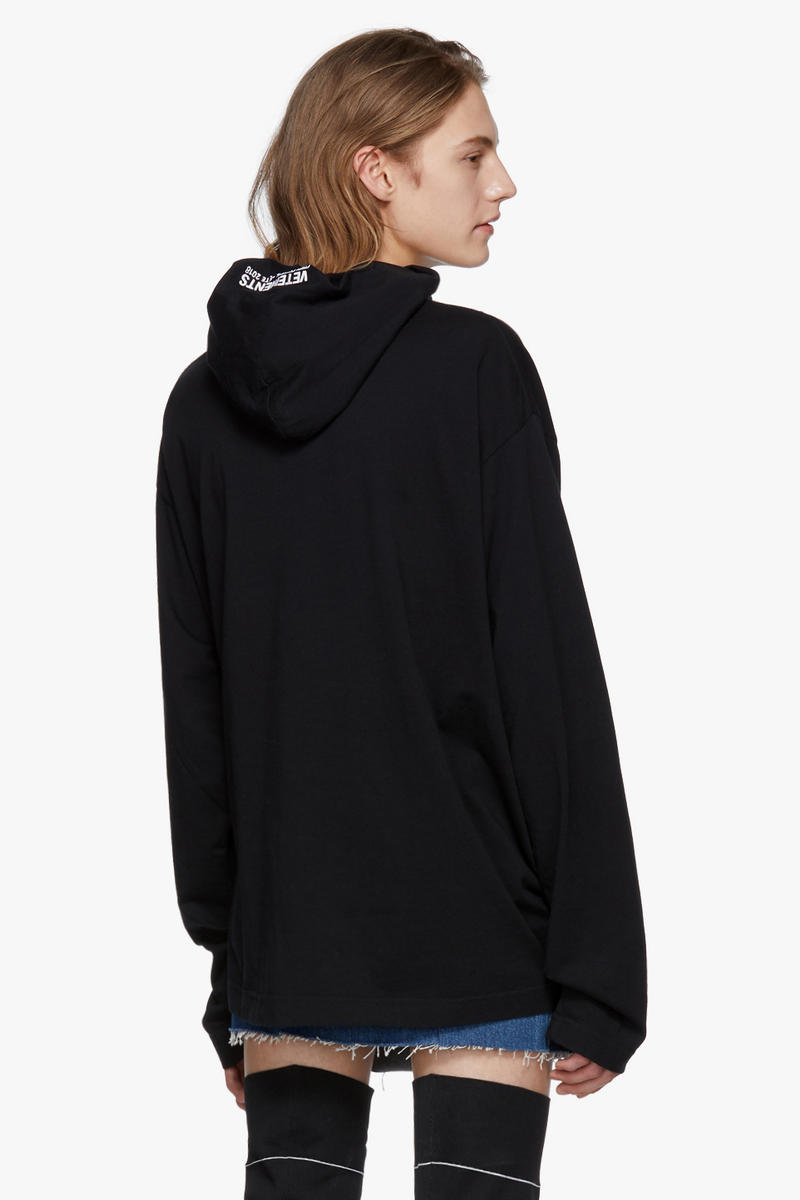 Vetements Hometown Collection Hoodie T-shirt Black White Print Simple Streetwear