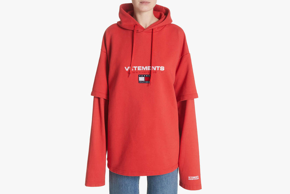 Vetements Tommy Hilfiger Collaboration Double Sleeve Hoodie Oversized Red 2018 Logo